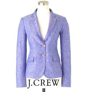 J Crew Schoolboy Linen Chambray Crosshatch Blazer